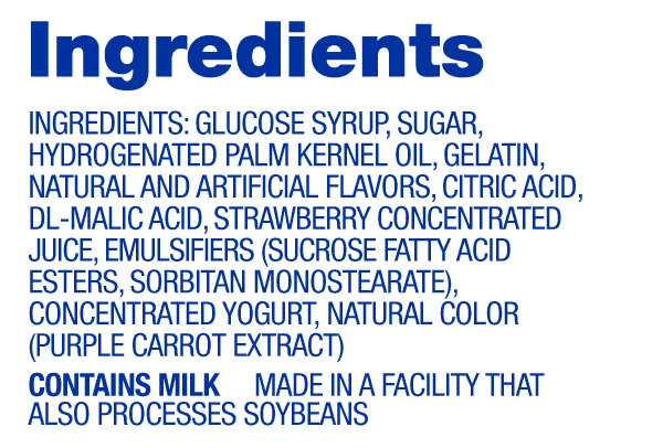 Strawberry Hi-Chew Ingredients